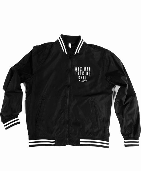 Mexican Fucking Chef Stripped Bomber Jacket - Frontal & Back Print - WHITE