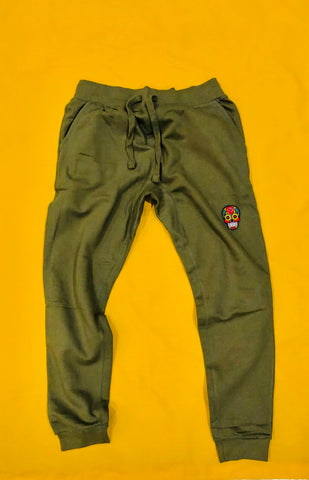 Calavera Olive Tech Jogger W/ Pink Embroidery Felt Multicolor Patch