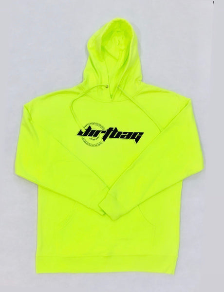 Dirtbag Premium Hoodie Yellow Fluorescent -Black  Print -