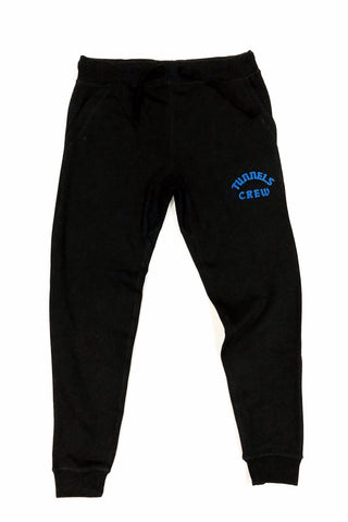 Tunnels Crew Black Tech Jogger With Frontal Royal Blue Print