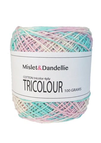 Tricolour Cotton 4ply in Babypinkblu