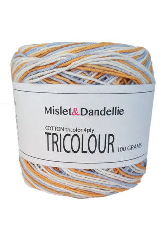 Tricolour Cotton 4ply in Cashmere