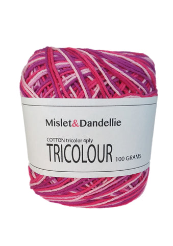 Tricolour Cotton 4ply in Magentamix