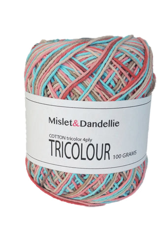 Tricolor Cotton 4ply in MintyPink