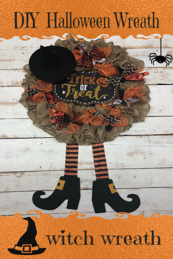 DIY Burlap Halloween Witch Wreath