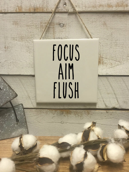 Focus Aim Flush Sign-Wall Decor-Bathroom Sign-Rae Dunn-Bathroom Funny Bathroom Art-Farmhouse