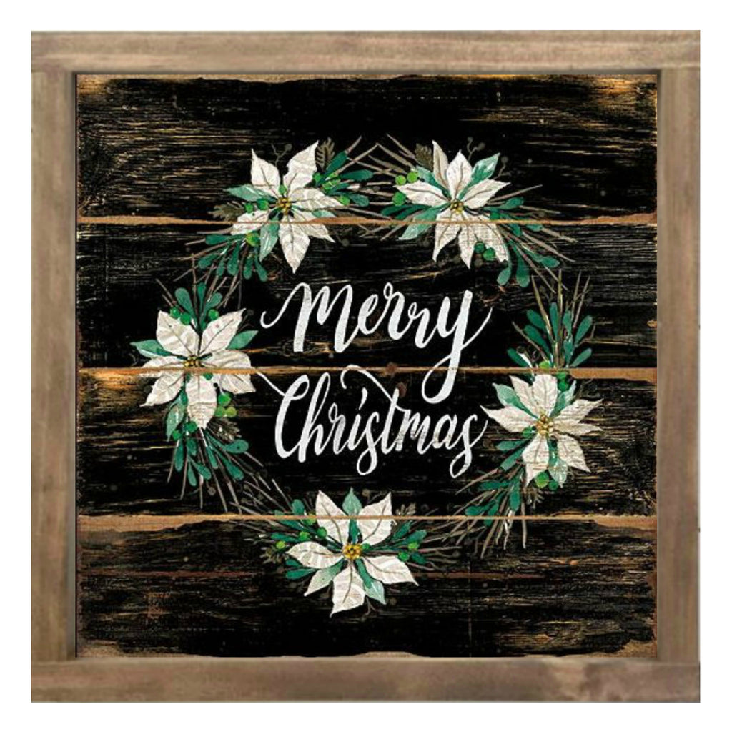 MERRY CHRISTMAS POINSETTIA WREATH