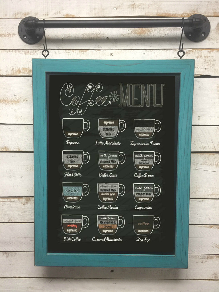 Cafe Chalkboard Rustic Menu Board Hanging