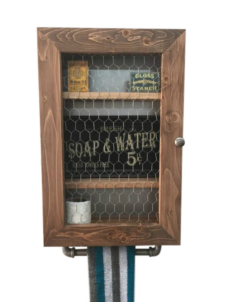 Farmhouse Cabinet - Hanging Cabinet - Chicken Wire Cabinet