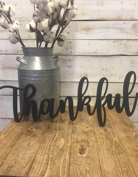 Thankful Sign-Wooden Letters-Thankful Word Cutout-Thankful Word