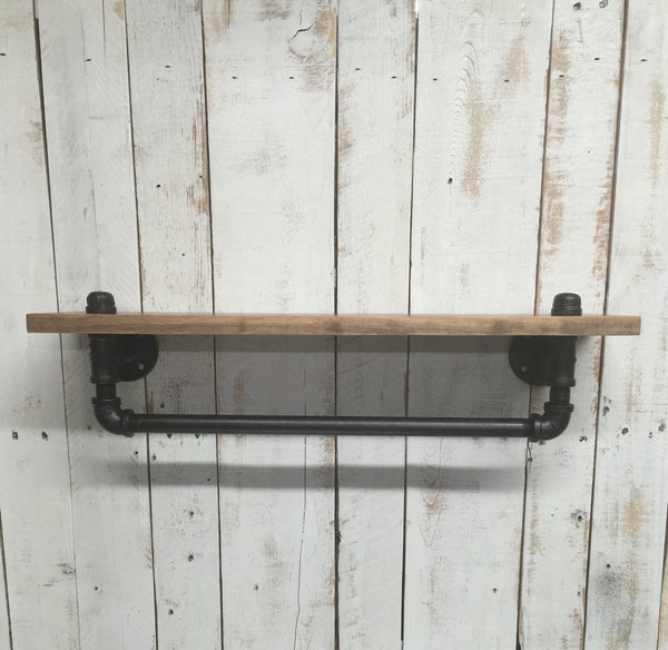 Industrial towel rack shelf-Rustic Bathroom shelf