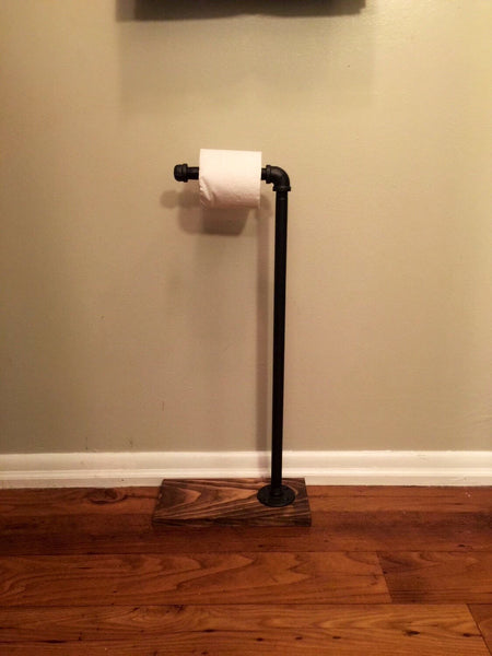 Industrial toilet paper stand rustic bathroom accessory for Bathroom accessories stand