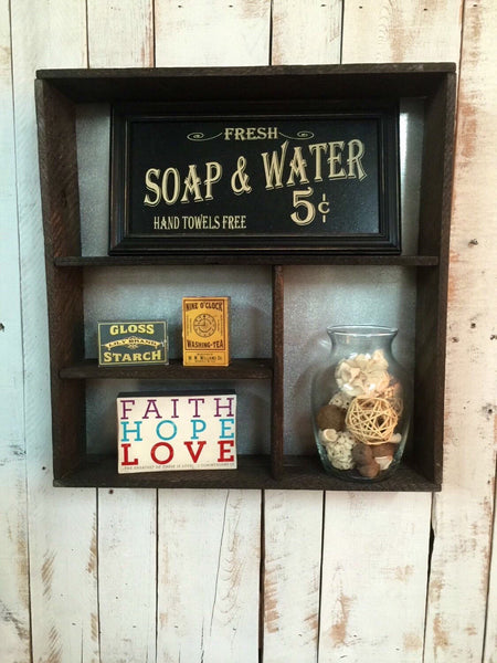 Rustic bathroom decor- wooden shelves