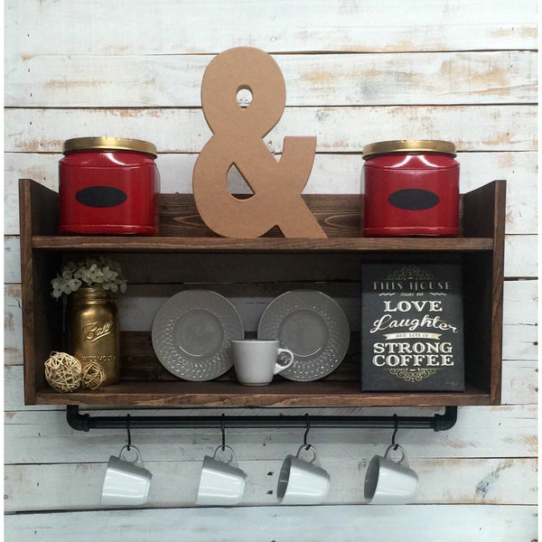 Rustic kitchen shelf-coffee bar shelf