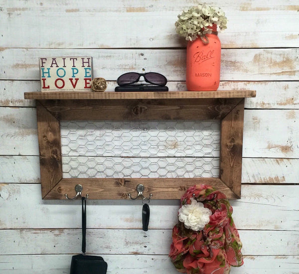Rustic Home Decor-entry way shelves