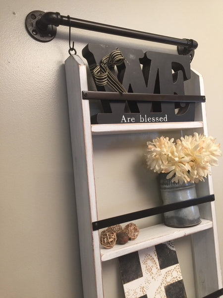 Rustic farmhouse shelf- farmhouse ladder shelf