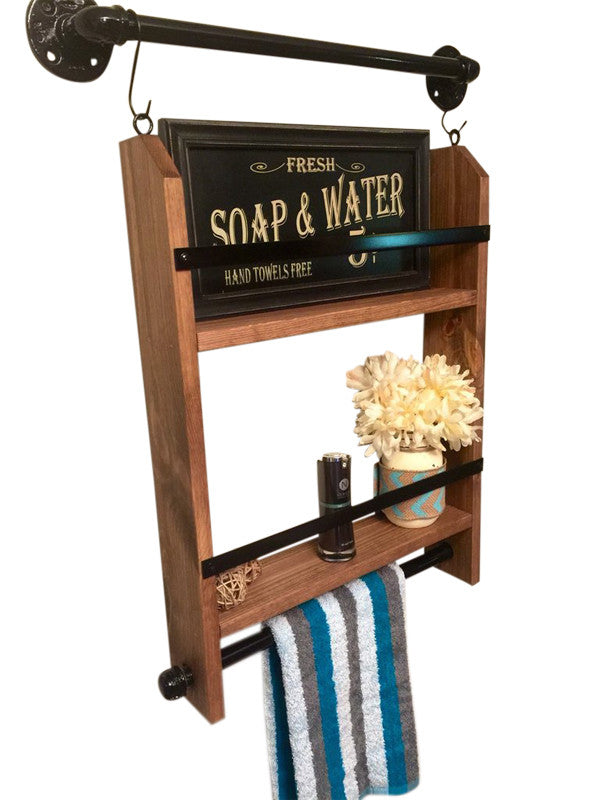 Shelf with Towel Rack- 2 tier shelf