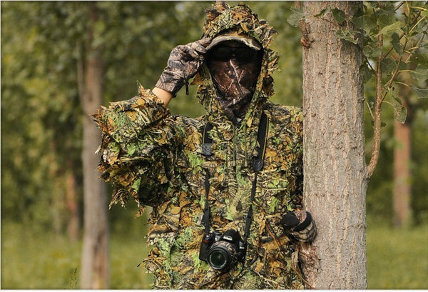 Man wearing a Ghillie Suit