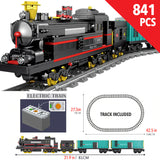 Motorized Building Block Train Sets with Tracks and Electric Motor