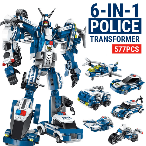 577pcs 6 IN 1 Police Transformer Block Set