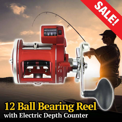 12 Ball Bearings Fishing Reel With Electric Depth Counter