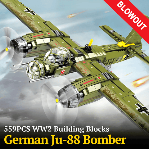 559PCS WW2 Building Blocks German JU-88 Bomber Plane