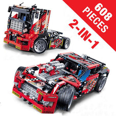 608 PCS Race Truck / Car 2-IN-1 Transformable Model