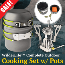 Portable Gas Stove & 2 Pc Camping Cookware Set