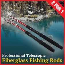 Fiberglass Telescopic Fishing Rod - 2 for 1 BLOWOUT!