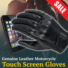 Genuine Leather Touchscreen Gloves w/ Knuckle Armor