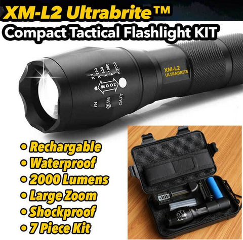 XM-L2 UltraBrite™ 2000 Lumen LED Tactical Flashlight w/ 5 Modes and Zoom Function