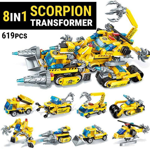 619 Piece 8 IN 1 Scorpion Transformer Block Set