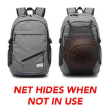 The Ballers Backpack™ with Retractable Net, USB & Laptop Holder
