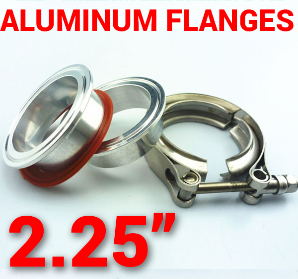 2.25 inch Aluminum Flanges with 304 Stainless Steel V-Band Clamp Kit