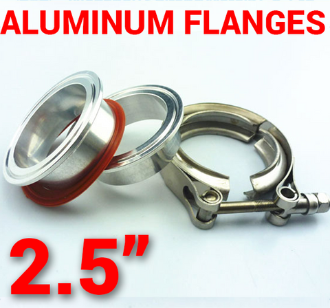 2.5 inch Aluminum Flanges with 304 Stainless Steel V-Band Clamp Kit