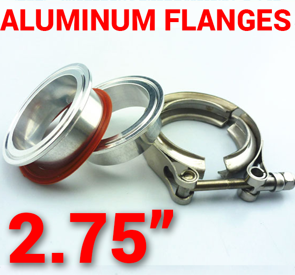 2.75 inch Aluminum Flanges with 304 Stainless Steel V-Band Clamp Kit