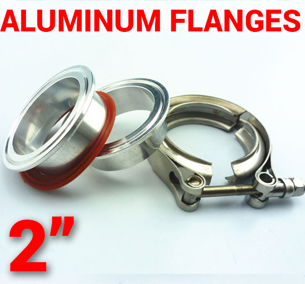 2 inch Aluminum Flanges with 304 Stainless Steel V-Band Clamp Kit