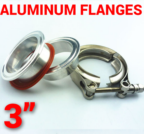 3 inch Aluminum Flanges with 304 Stainless Steel V-Band Clamp Kit