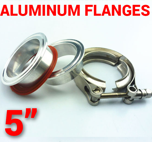 5 inch Aluminum Flanges with 304 Stainless Steel V-Band Clamp Kit