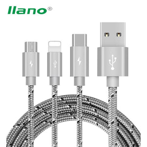 3 in 1 Charge Cable Micro USB Type C Charger Wire Charging Data - Empire Accessories Inc