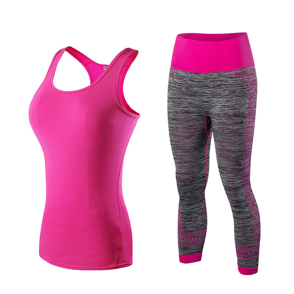 Running Set  Vest Pants Sport Suit Fitness Tights Top Jogging Suits FREE SHIPPING - Empire Accessories Inc
