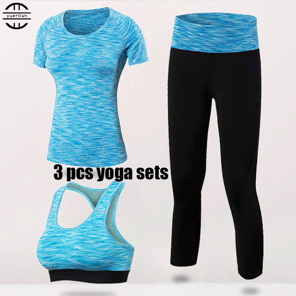 Quick Dry Yoga Set 3 PCS Workout Tight Sexy Top Sport Suit Gym Running Shirt legging Pants Sport Bra Women's tracksuit - Empire Accessories Inc