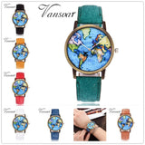 Global Travel By Plane Map Watch  Dress Watch Denim Fabric Band Quartz Wristwatches FREE SHIPPING - Empire Accessories Inc