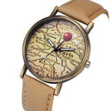 Map Pattern watches Faxu Leather Wrist Watch casual Quartz-watch FREE SHIPPING - Empire Accessories Inc