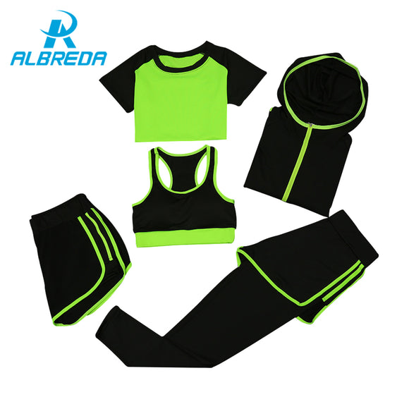 Women Yoga Sport Suit quick Dry Bra Set 5 Piece Female Short-sleeved shorts long pants Outdoor Sportswear Running Coats - Empire Accessories Inc