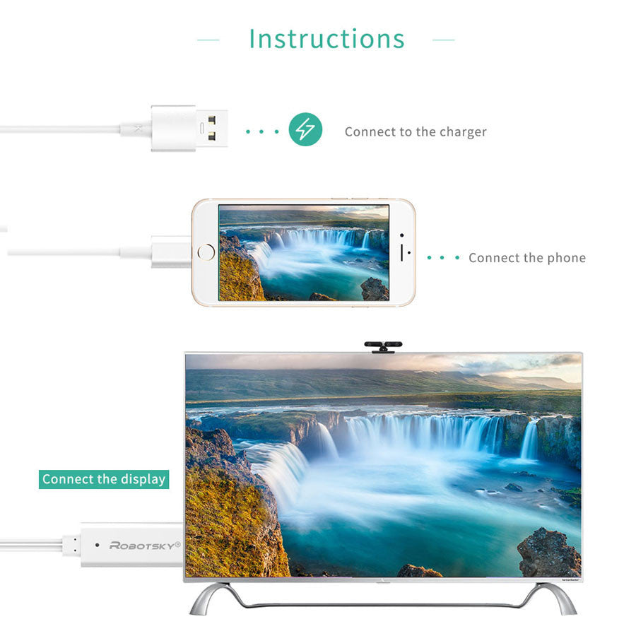 For iPhone To HDMI Cable 3 in 1 Micro USB Type C 8 Pin To HDMI Cabo ...