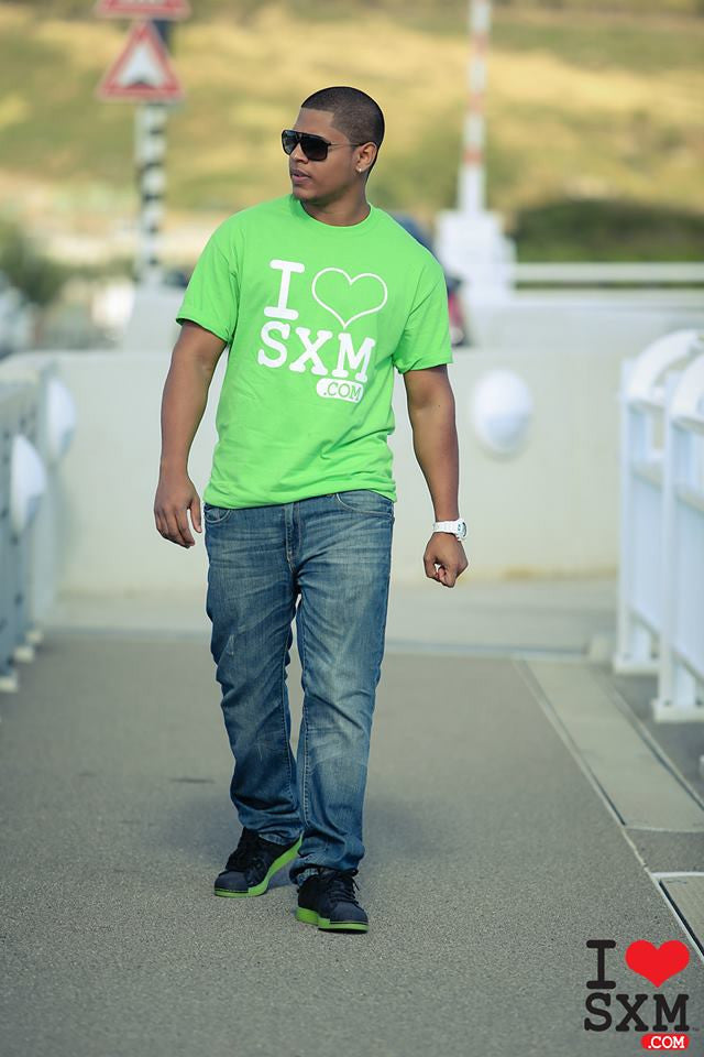 I Love SXM T.Shirt Lime Green