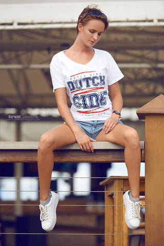 Dutch Side female white V Neck