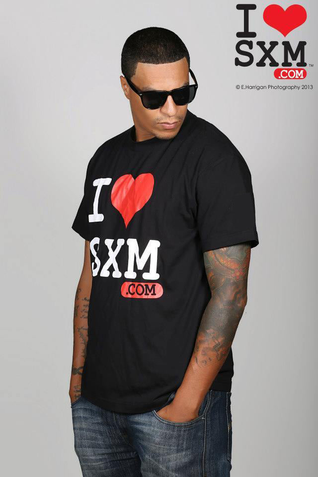 I Love  SXM black T.Shirts