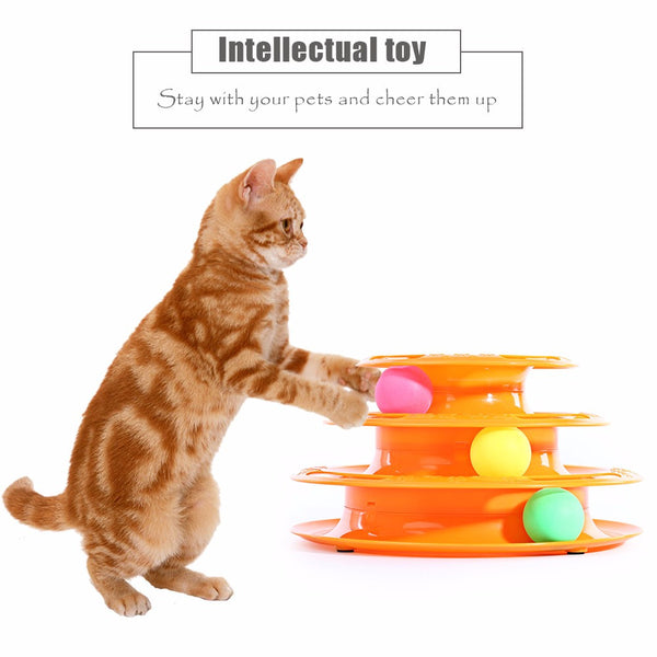 Intelligence Amusement Rides - Three Levels Tower Tracks Disc Toy for Pets